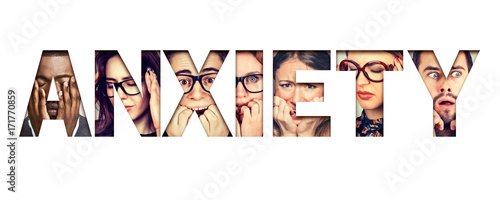 Fotografija Word anxiety composed of anxious stressed faces of men and women