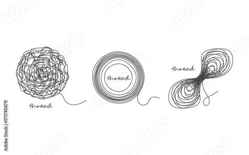 Obraz na plátne Thread ball and ravel icon set isolated on white