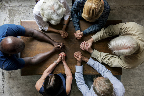 Canvas Print Group of christianity people praying hope together