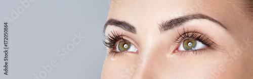 Fotografiet Closeup shot of woman eye with day makeup. Long eyelashes