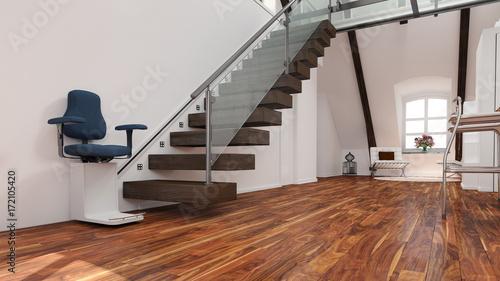 Fotografija Treppenlift mit Beleuchtung an Treppe