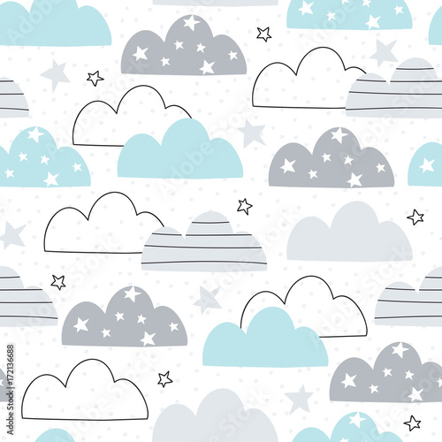 seamless clouds pattern vector illustration