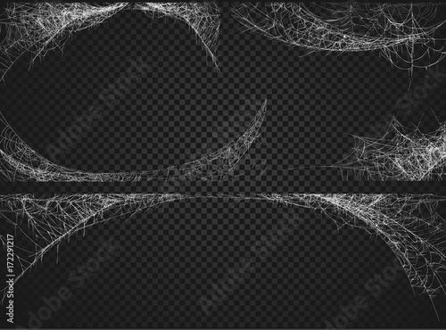 Fotografia Halloween decor, spider cobweb, hand drawn vector illustration.