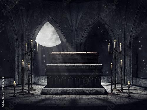 Stampa su Tela Krypta wampira ze świecami i blaskiem księżyca