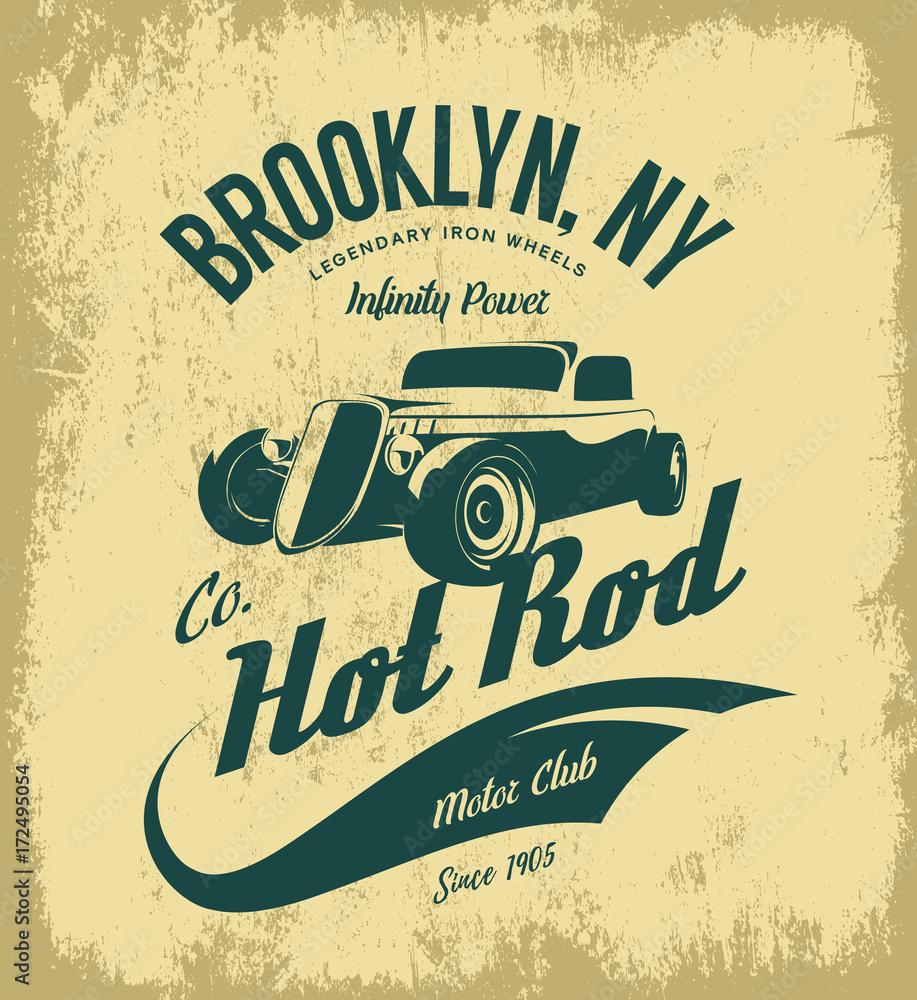 Vintage hot rod logo koncepcja na białym tle na tle oliwek <span>plik: #172495054   autor: pro</span>