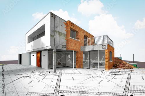 Cuadros en Lienzo Chantier de construction d'une maison d'architecte