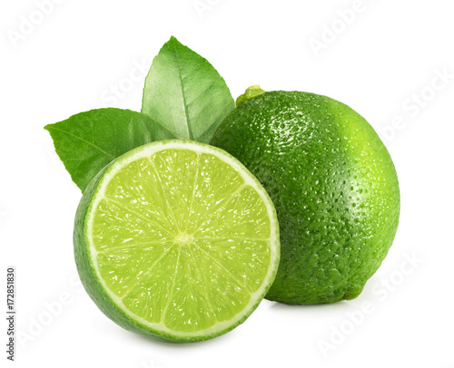 Stampa su Tela Lime isolated on white background