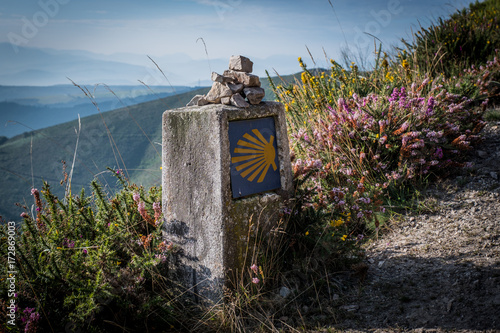 Leinwand Poster The oldest Camino de Santiago in Spain the Camino Primitivo leading from Ovied