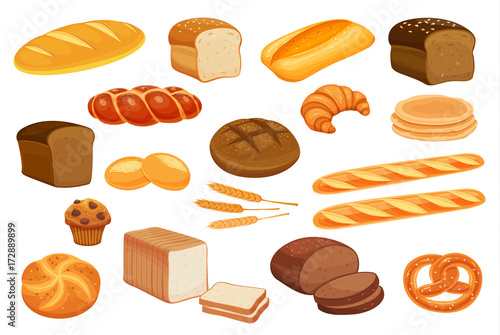 Photographie Set vector bread icons.