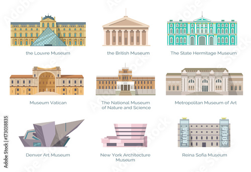 Canvas-taulu Most Famous Museums in Whole World Illustration