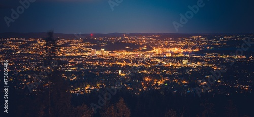 Canvas Print Night in the Oslo Norway