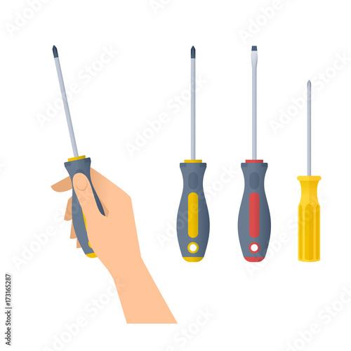 Obraz na płótnie Human hand holds screwdriver