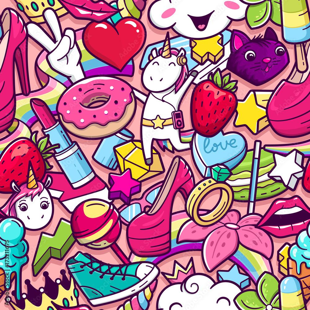 Graffiti wzór z dziewczęcym stylu gryzmoły. Wektorowy tło z dziecinną dziewczyną władzy szalonych elementów. Modny styl liniowy kolaż z dziwacznych ikon sztuki ulicy. <span>plik: #173211675 | autor: aerial333</span>
