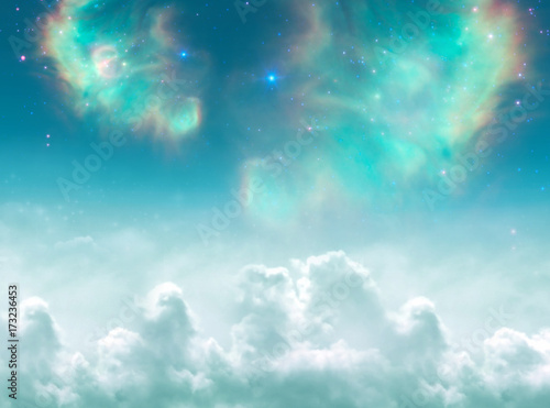 Leinwand Poster Angelic, divine, spiritual, mystical, magic background with clouds, stars and ga