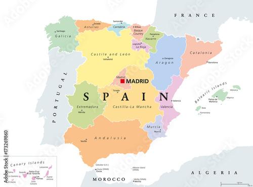 Canvas Print Autonomous communities of Spain political map