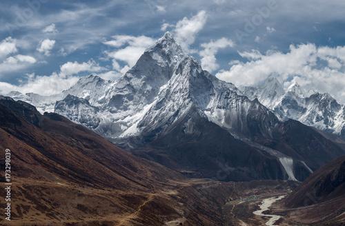 View of Ama Dablam over Solukhumbu valley, Himalayas Nepal