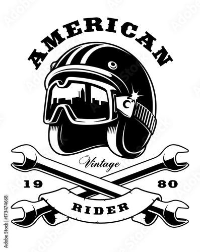 Obraz na płótnie cafe racer helmet with wrenches on white background