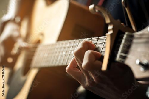 Fotografie, Obraz hand of guitarist and chord of guitar.