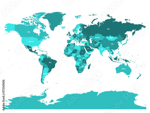 World map in four shades of turquoise blue on white background. High detail political map with country names. Vector illustration.