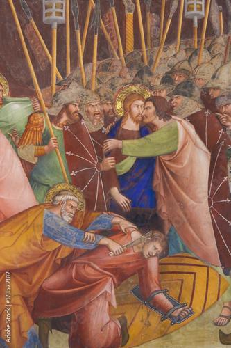 Obraz na plátne Fresco in San Gimignano - Kiss of Judas