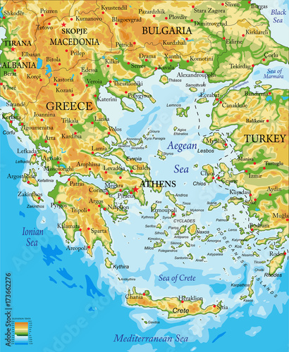 Canvas Print Greece relief map