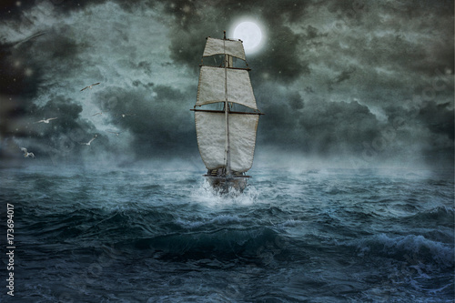 Photo Schiff, Meer, Ozean, blau, Wolken, Wasser, Segel, Sturm