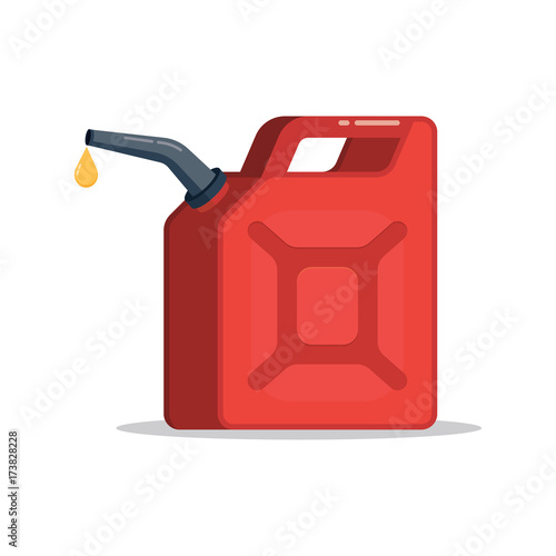 Fotografiet Canister of gasoline with a drop fuel