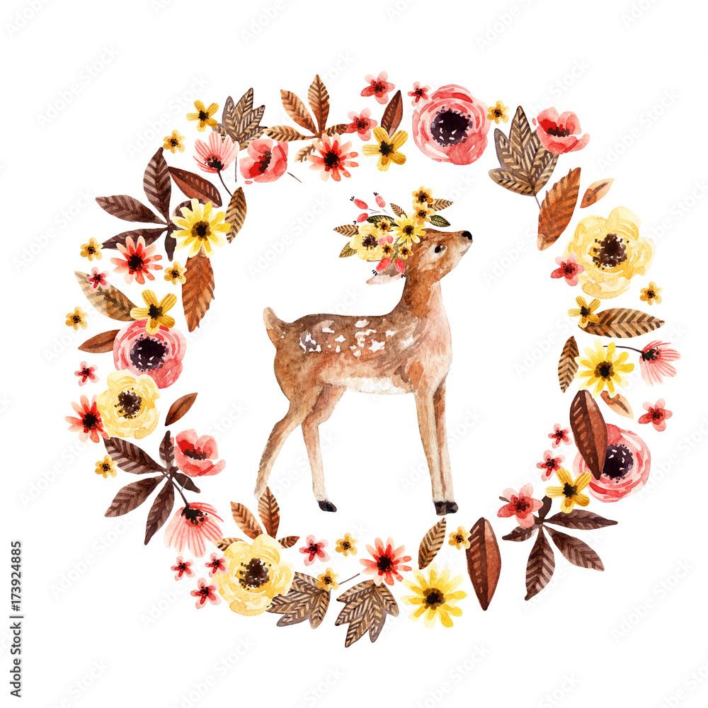 Akwarela Jeleń Jelonek wśród kwiatów na białym tle. <span>plik: #173924885 | autor: Tanya Syrytsyna</span>