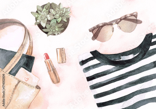 Watercolor flat lay with glasses stripes t-shirt woman bag with dairy and cactus and lipstick on pink background