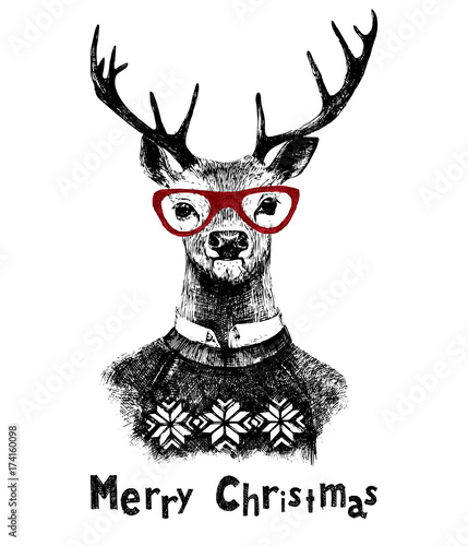 Obraz na płótnie Kartka świąteczna z jeleniem