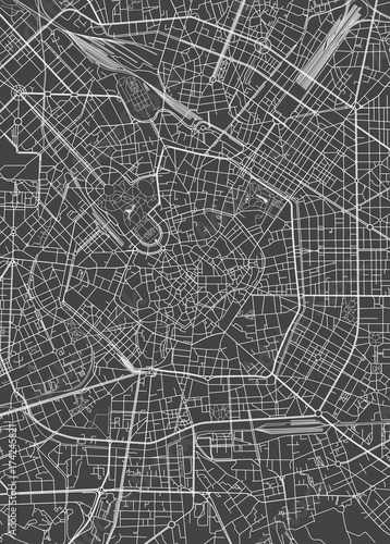 Canvas Print Milan city plan, detailed vector map