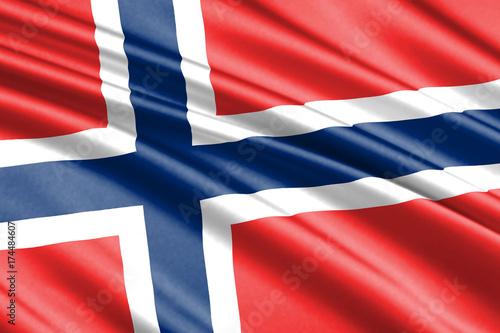Wallpaper Mural waving flag Norway