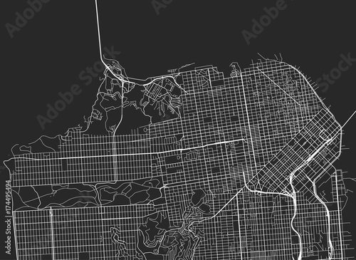 Obraz na plátně Vector black map of San Francisco