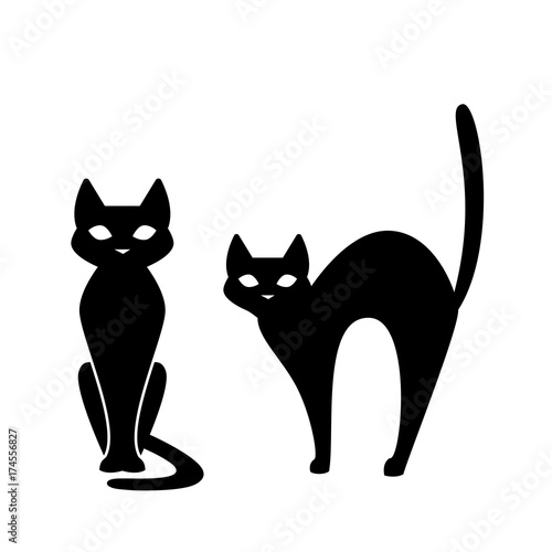 Fotografija Black cat, scary cartoon Halloween illustration Vector