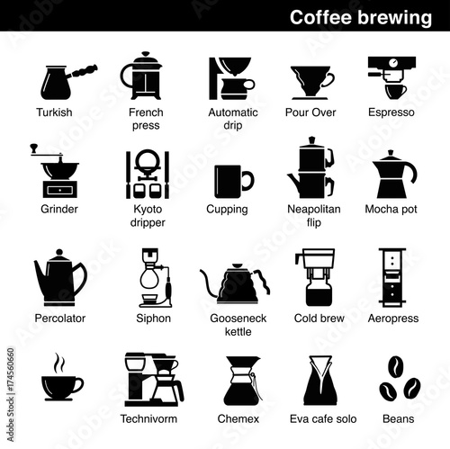 Fotografia Set of coffee brewing methods. Vector elements