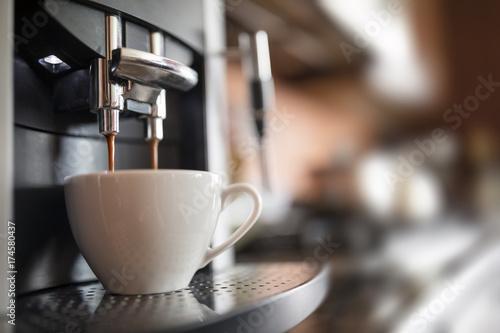 Leinwand Poster Espresso machine making fresh coffee