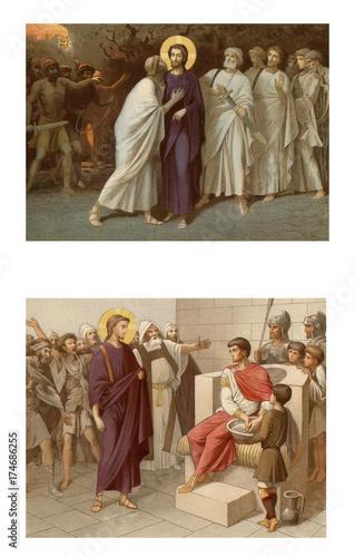Obraz na plátně The Kiss Of Judas. Jesus and Pontius Pilat.