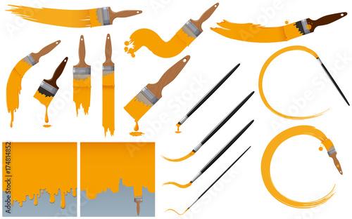Obraz na plátně Paintbrushes and yellow paint