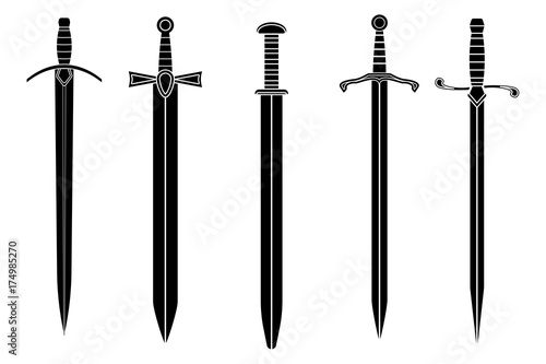 Canvas Print Swords. Collection of black icons