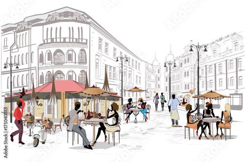 Seria tła ozdobiona widokiem na stare miasto i ulicznymi kawiarniami. Ręcznie rysowane ilustracji wektorowych.
