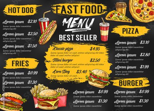 Stampa su Tela Fast food restaurant vector menu sketch template