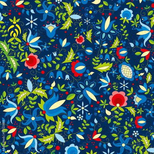 kaszuby pattern blue repeatable