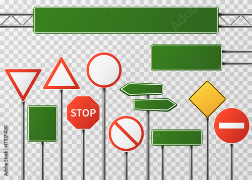 Canvas Print Blank street traffic and road signs vector set isolated