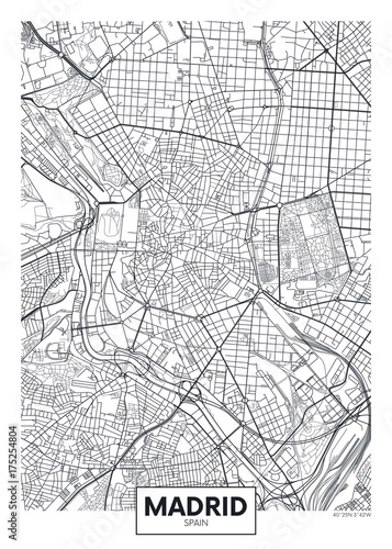 Photo Detailed vector poster city map Madrid