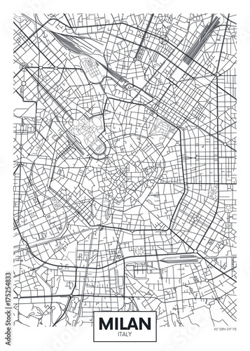 Photo Detailed vector poster city map Milan