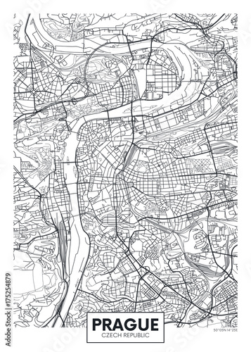 Fototapeta premium Szczegółowa mapa miasta plakat wektor Pragi