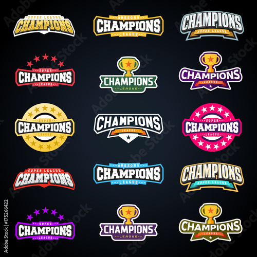 Fotografia, Obraz Sport champion or champions league emblem typography set