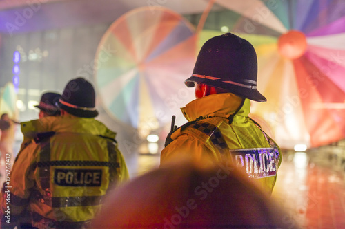 Fotografia Police Officers provide security at a festival in Doncaster, Yorkshire, England