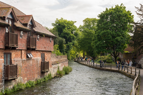 Fototapeta The Weirs walk on river Itchen, Winchester