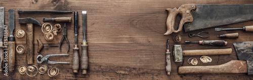 Billede på lærred Collection of vintage woodworking tools